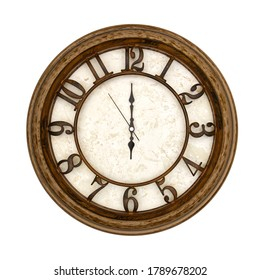Wooden round analog wall clock isolated on white background, its six oclock.