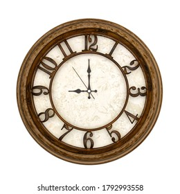 Wooden round analog wall clock isolated on white background, its nine oclock.