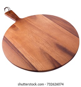 wooden round board for pizza isolated on white background.
