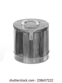 wooden round box on white background