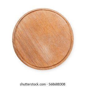 Wooden round empty board for pizza isolated on white background, top view.