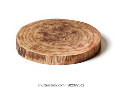 wooden round empty cutting board isolated on white background