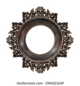 Wooden round frame for paintings, mirrors or photo isolated on white background. Design element with clipping path