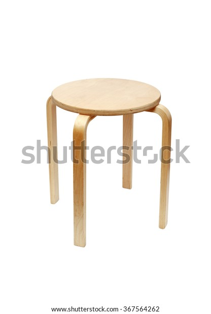 Terrific Wooden Round Stool Isolated On White Stock Photo Edit Now Pabps2019 Chair Design Images Pabps2019Com