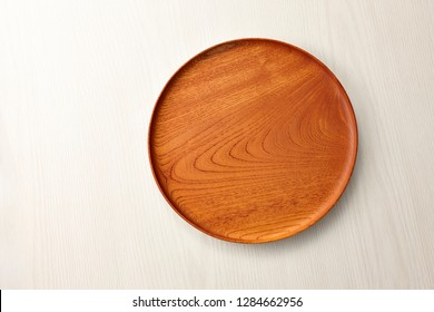 Wooden round tray. top view