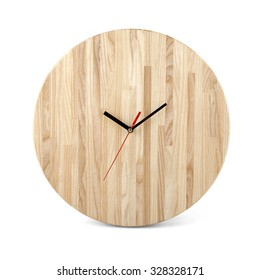 Wooden round wall watch - clock isolated on white background