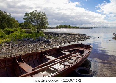 Wooden Rowing Boat on Water, Lough Mask, Ireland