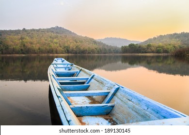 Wooden rowing boat,Huay Sing, Mukdahan Province of Thailand