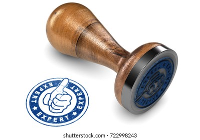 Wooden Rubber Stamp over white background with the text expert printed in blue color. Concept of advice and expertise in business. 3D illustration