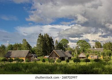 wooden rural houses, Saaremaa, Estonia