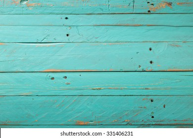 Wooden Rustic Turquoise Background Distressed With Nail
