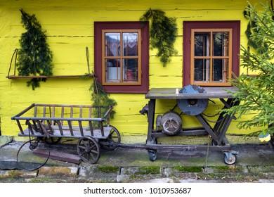 Wooden, rustic window in cottage, Vlkolinec, Liptov, Slovakia