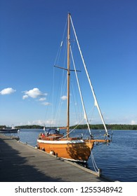A wooden sailboat docked at Lappeenranta harbour.