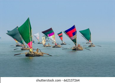 Wooden Sailboats in the Bay Of Bengal, Rakhine State, Myanmar