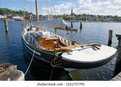 wooden sailing boat at harbour