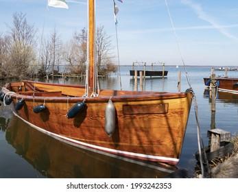 wooden sailing boat in the Steinhuder Meer, Germany, Niedersachsen - Shutterstock ID 1993242353