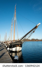 wooden sailing boat two-master at flensburg harbour