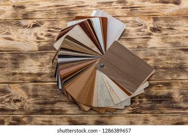 Wooden sampler for furniture at the desk