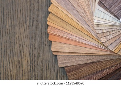Wooden samples for floor laminate or furniture in home or commercial building.Small color sample boards. Image for design