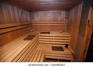 wooden sauna in the house