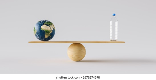 wooden scale balancing big Earth ball and plastic bottle. Concept of environmental Protection and balance