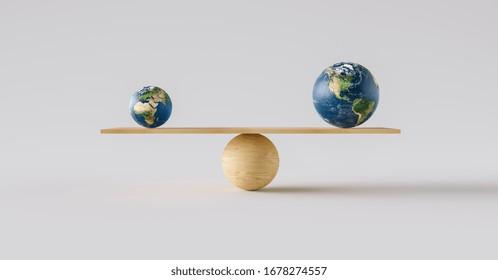 wooden scale balancing big Earth ball and small Earth ball. Concept of harmony and balance