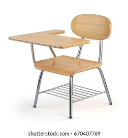 Wooden school desk and chair isolated on white. 3d illustration.