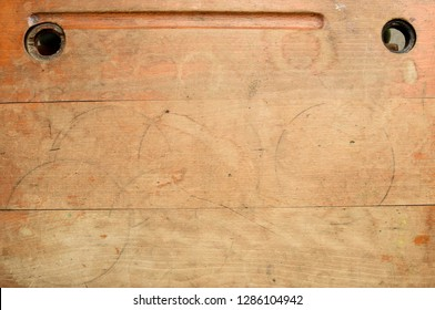 wooden school desk view from above