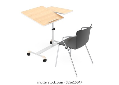 Wooden School, Home and Office Laptop Desk with Chair on a white background