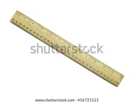 Wooden School Ruler With Inches And Millimeters Isolated On White Background