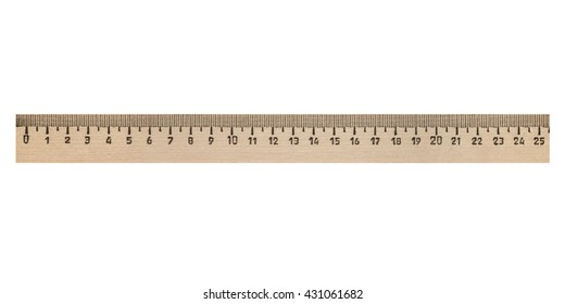 Wooden school ruler isolated on white background