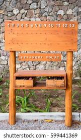 Wooden Score board Petanque at Petanque court