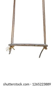A wooden seat suspended by ropes for sit and swing back and forth,wooden swing isolated on white background.