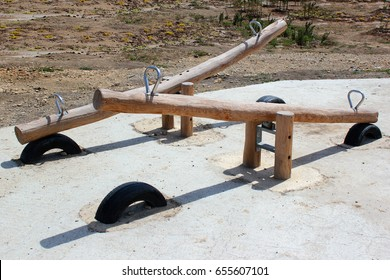 Wooden seesaw in a park