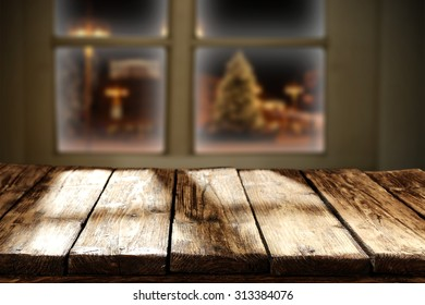 wooden shabby table and window