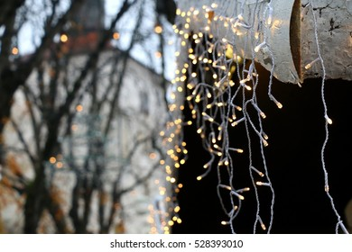 Wooden shacks decorated with Christmas lights for Advent in Zagreb Upper Town, Croatia. Selective focus. Advent in Zagreb Fair was voted as the European Best Christmas Destination for 2016.