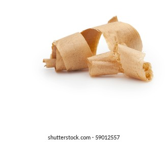 Wooden shavings isolated on white.