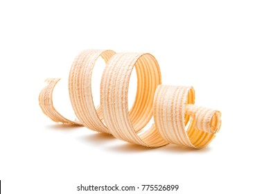 wooden shavings isolated on white background