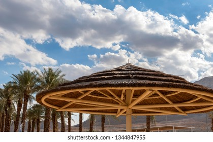 Wooden shed at the Dead sea beach, Israel