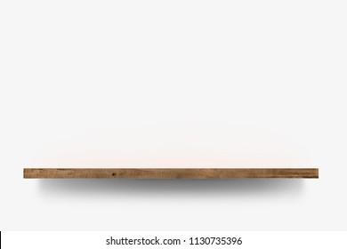 Wooden shelf over white background background