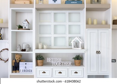 Wooden Shelf wall interior design and decorations.