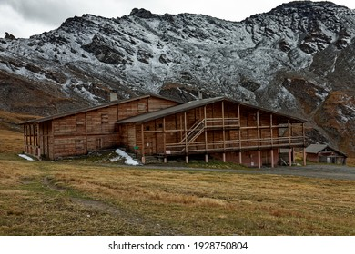 Wooden shelter building in mountains area. Refuge in Queyras regional park, France, Europe.