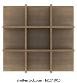 Wooden shelves. 3d render isolated on white background