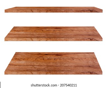 Wooden shelves isolated on white background, Objects with Clipping Paths for design work