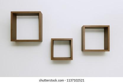 Wooden Shelves set on white wall