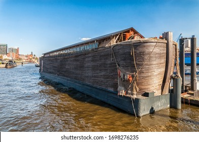 Wooden ship Noah's ark in the port of Hamburg