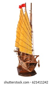 Wooden ship toy model, isolated on white background, Side view