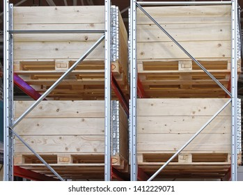 Wooden Shipping Boxes With Pallets at Shelving System Warehouse