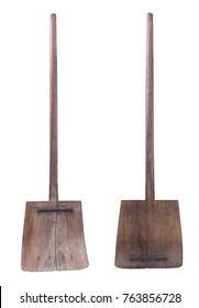 wooden shovel isolated on a white background