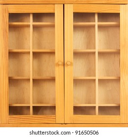 Wooden showcase with closed doors